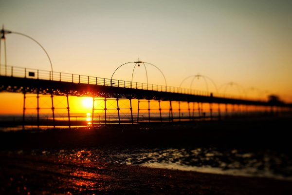 Southport Pier with a golden sunset